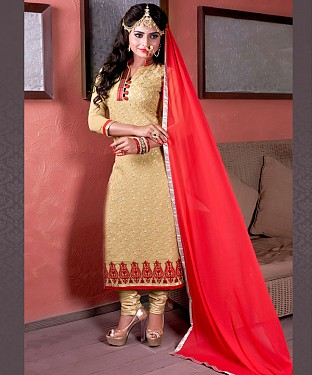 Designer Beige Straight Suit @ Rs1606.00