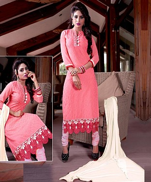 Designer Pink Straight Suit @ Rs1606.00