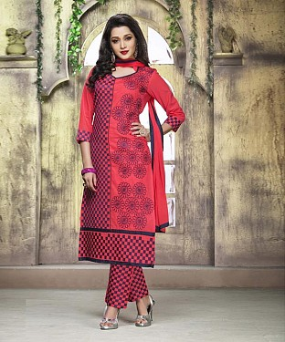 PEACH COTTON STRAIGHT SUIT @ Rs1050.00