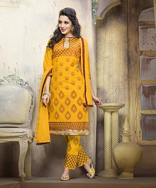 YELLOW COTTON STRAIGHT SUIT @ Rs1050.00