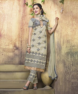 BEIGE COTTON STRAIGHT SUIT @ Rs1050.00