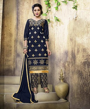 NAVY BLUE COTTON STRAIGHT SUIT @ Rs1050.00