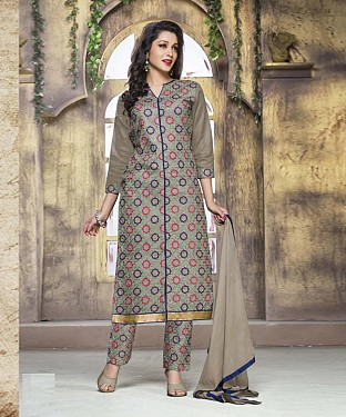 GREY COTTON STRAIGHT SUIT @ Rs1050.00