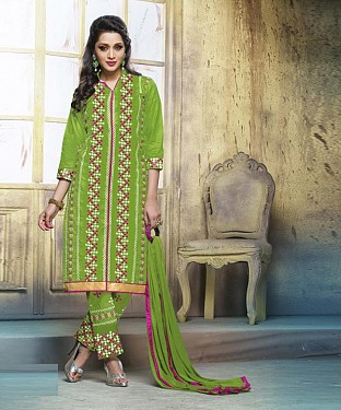 GREEN COTTON STRAIGHT SUIT @ Rs1050.00