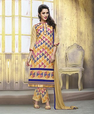 CREAM COTTON STRAIGHT SUIT @ Rs1050.00