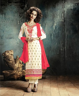 CREAM EMBROIDERY GEORGETTE STRAIGHT SUIT @ Rs1606.00
