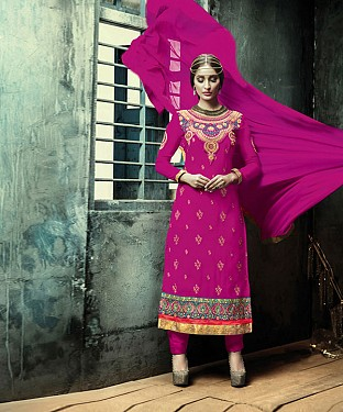 PINK EMBROIDERY GEORGETTE STRAIGHT SUIT @ Rs1606.00