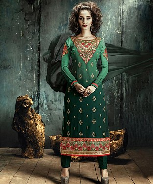GREEN EMBROIDERY GEORGETTE STRAIGHT SUIT @ Rs1606.00