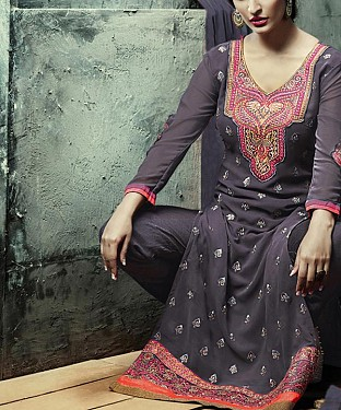 GREY EMBROIDERY GEORGETTE STRAIGHT SUIT @ Rs1606.00