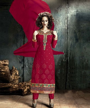 Red EMBROIDERY GEORGETTE STRAIGHT SUIT @ Rs1606.00