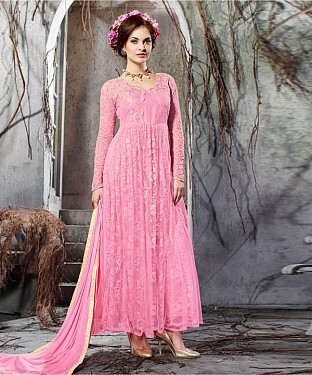 PINK EMBROIDERY NET ANARKALI SUIT @ Rs2100.00