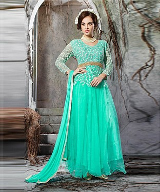 AQUA EMBROIDERY NET ANARKALI SUIT @ Rs2100.00