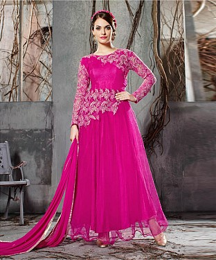 DARK PINK EMBROIDERY NET ANARKALI SUIT @ Rs2100.00