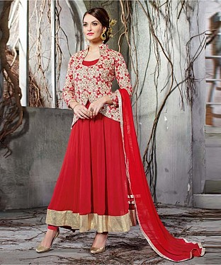 RED EMBROIDERY GEORGETTE  ANARKALI SUIT @ Rs2100.00