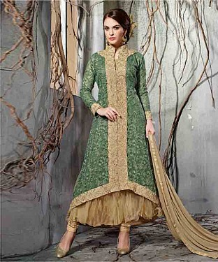 GREEN EMBROIDERY NET ANARKALI SUIT @ Rs2100.00