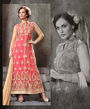 PEACH AND CREAM EMBROIDERY NET  ANARKALI SUIT @ Rs2100.00