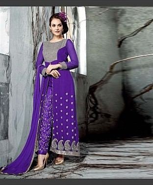 PURPLE  EMBROIDERY GEORGETTE  ANARKALI SUIT @ Rs2100.00