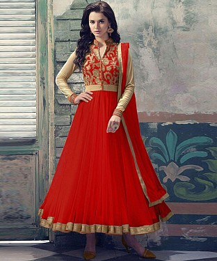 RED EMBROIDERED NET ANARKALI SUIT @ Rs1112.00