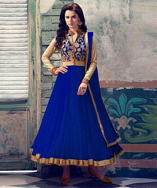 BLUE EMBROIDERED NET ANARKALI SUIT @ Rs1112.00