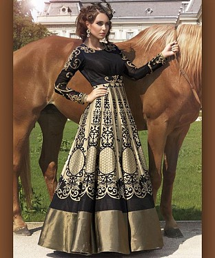 Cream And Black BHAGAL PURI DIGITAL PRINT ANARKALI SUIT @ Rs4016.00