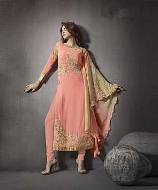PEACH EMBROIDERED GEORGETTE STRAIGHT SUIT @ Rs3027.00