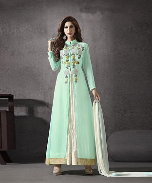 AQUA EMBROIDERED GEORGETTE ANARKALI SUIT @ Rs2966.00