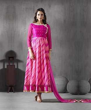 PINK RESHAM ZARI GEORGETTE ANARKALI SUIT @ Rs3027.00