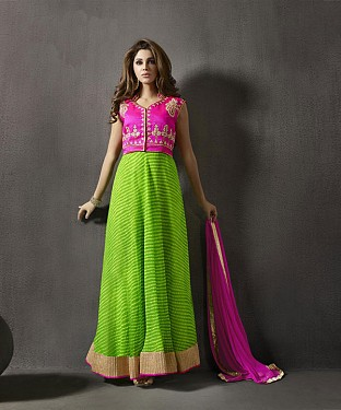 PINK AND PARROT RWSHAM ZARI CHIFFON ANARKALI SUIT @ Rs2533.00