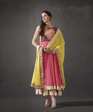 PEACH & YELLOW RESHAM ZARI GEORGETTE ANARKALI SUIT @ Rs3213.00