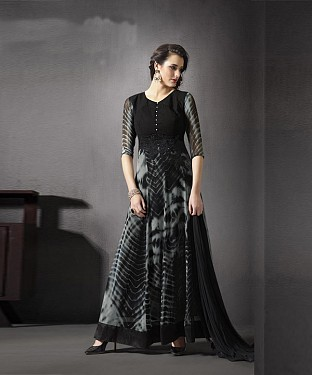 BLACK AND GREY  EMBROIDERED GEORGETTE ANARKALI SUIT @ Rs2471.00