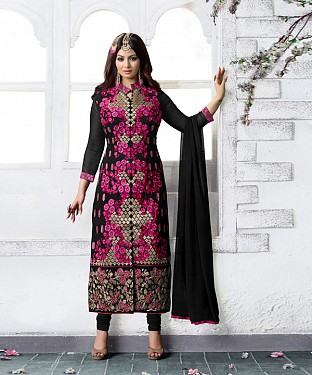 BLACK AND PINK  EMBROIDERED FAUX GEORGETTE STRAIGHT SUIT @ Rs2471.00