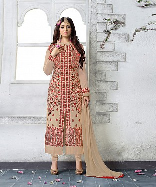 CREAM AND RED EMBROIDERED FAUX GEORGETTE STRAIGHT SUIT @ Rs2471.00