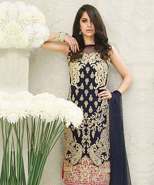 NAVY BLUE AND CREAM EMBROIDERED FAUX GEORGETTE STRAIGHT SUIT @ Rs2100.00