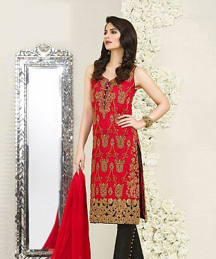 RED AND BLACK EMBROIDERED FAUX GEORGETTE STRAIGHT SUIT @ Rs2100.00
