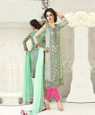 AQUA AND PINK EMBROIDERED FAUX GEORGETTE STRAIGHT SUIT @ Rs2100.00