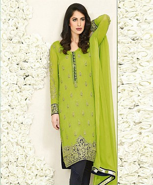 PARROT AND NAVY BLUE EMBROIDERED FAUX GEORGETTE STRAIGHT SUIT @ Rs2100.00