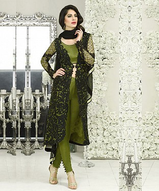 GREEN AND BLACK EMBROIDERED FAUX GEORGETTE STRAIGHT SUIT @ Rs2100.00