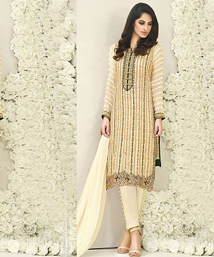 OFF WHITE AND CREAM EMBROIDERED FAUX GEORGETTE STRAIGHT SUIT @ Rs2100.00