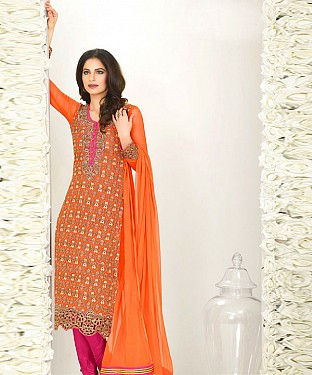 ORANGE AND PINK EMBROIDERED FAUX GEORGETTE STRAIGHT SUIT @ Rs2100.00