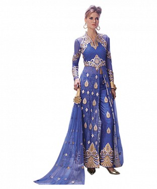 BLUE EMBROIDERED NET ANARKALI SUIT @ Rs3522.00