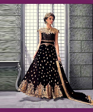 BLACK EMBROIDERED NET ANARKALI SUIT @ Rs3522.00