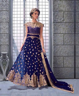 NAVY BLUE EMBROIDERED NET ANARKALI SUIT @ Rs3522.00