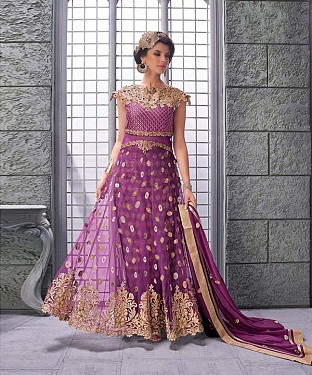 PINK EMBROIDERED NET ANARKALI SUIT @ Rs3522.00