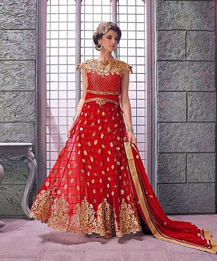 RED EMBROIDERED NET ANARKALI SUIT @ Rs3522.00