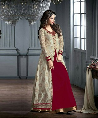 MAROON AND CREAM EMBROIDERED GEORGETTE ANARKALI SUIT @ Rs2966.00