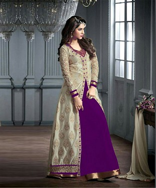 PURPLE AND CREAM EMBROIDERED GEORGETTE ANARKALI SUIT @ Rs2966.00