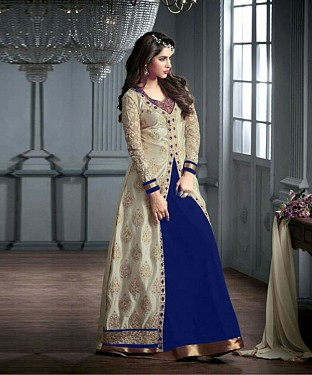 BLUE AND CREAM EMBROIDERED GEORGETTE ANARKALI SUIT @ Rs2966.00