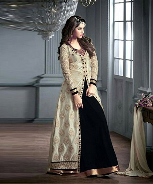 BLACK AND CREAM EMBROIDERED GEORGETTE ANARKALI SUIT @ Rs2966.00
