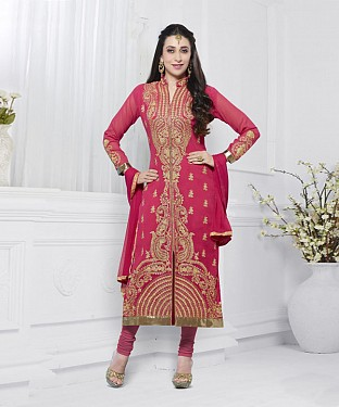 PEACH EMBROIDERED FAUX GEORGETTE STRAIGHT SUIT @ Rs2100.00