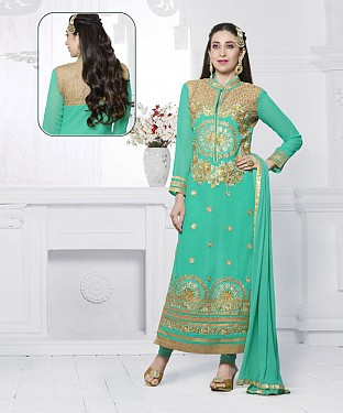 AQUA EMBROIDERED FAUX GEORGETTE STRAIGHT SUIT @ Rs2100.00